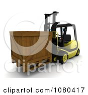 3d Wooden Crate Loaded On A Forklift