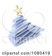 Clipart 3d Scribble Blue Christmas Tree And Gold Star Royalty Free CGI Illustration