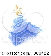 Clipart 3d Glass Blue Christmas Tree And Gold Star Royalty Free CGI Illustration