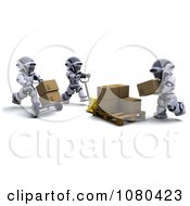 Clipart 3d Shipping Robots Moving Cardboard Boxes Royalty Free CGI Illustration