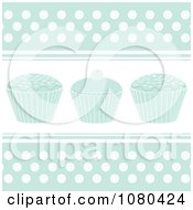 Clipart Pastel Blue Cupcake Background With Polka Dots Royalty Free Vector Illustration