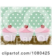 Clipart Grungy Green Polka Dot Background With Three Cupcakes Royalty Free Vector Illustration