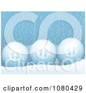 3d Blue Bingo Balls In The Snow