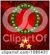 Clipart 3d Christmas Wreath With Gold Stars Over A Red Starry Background Royalty Free Vector Illustration by elaineitalia