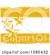 Golden Background With 3d Suspended Stars And Copyspace