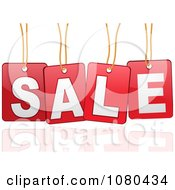 Clipart 3d Suspended SALE Sign In Red With A Reflection Royalty Free Vector Illustration by elaineitalia