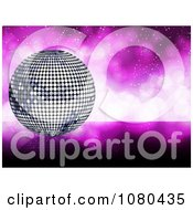 Clipart 3d Silver Disco Ball Over A Sparkly Purple Background Royalty Free Vector Illustration