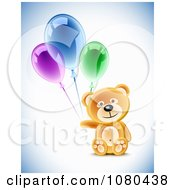 Clipart 3d Teddy Bear With Colorful Party Balloons Royalty Free Vector Illustration by Oligo