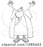 Clipart Outlined Moses Holding Up His Arms Royalty Free Vector Illustration by djart