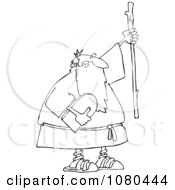 Clipart Outlined Moses Holding The Ten Commandments Tablet And Stick Royalty Free Vector Illustration