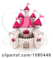 3d White Brick Castle With Pink Flags And Turrets 2