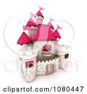 Clipart 3d White Brick Castle With Pink Flags And Turrets 1 Royalty Free CGI Illustration