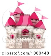 3d White Brick Castle With Pink Flags And Turrets 3