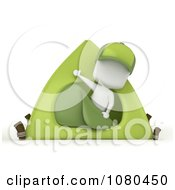 3d Ivory Boy Waving From A Camping Tent