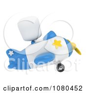 Clipart 3d Ivory Man Flying An Airplane Royalty Free CGI Illustration