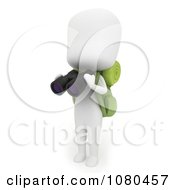Clipart 3d Ivory Camper Holding Binoculars Royalty Free CGI Illustration by BNP Design Studio