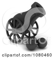 Clipart 3d Black Canon And Balls Royalty Free CGI Illustration