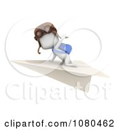 Clipart 3d Ivory Student Flying On A Paper Airplane Royalty Free CGI Illustration by BNP Design Studio