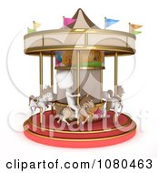 Clipart 3d Ivory Kid On A Horse Carousel Royalty Free CGI Illustration by BNP Design Studio