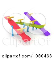 Clipart 3d Colorful See Saws On A Playground Royalty Free CGI Illustration