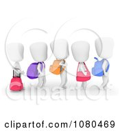 Clipart 3d Ivory School Kids Walking In A Line Royalty Free CGI Illustration