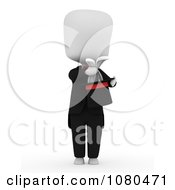 Clipart 3d Ivory Man Magician Pulling A Rabbit From A Hat Royalty Free CGI Illustration