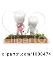 Clipart 3d Ivory Kids Gardening Royalty Free CGI Illustration