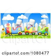Clipart 3d Ivory School Kids On A Train Ride Royalty Free CGI Illustration