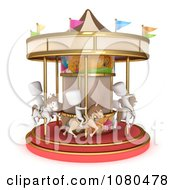 Clipart 3d Ivory Kids On A Horse Carousel Royalty Free CGI Illustration by BNP Design Studio