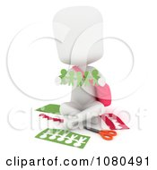 Clipart 3d Ivory School Girl Holding Paper People Royalty Free CGI Illustration