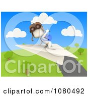 Clipart 3d Ivory Student Flying A Paper Airplane Over A Park Royalty Free CGI Illustration by BNP Design Studio