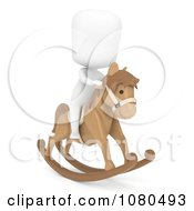 Clipart 3d Ivory Kid On A Toy Rocking Horse Royalty Free CGI Illustration by BNP Design Studio