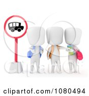 Clipart 3d Ivory School Kids At A Bus Stop Royalty Free CGI Illustration by BNP Design Studio