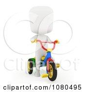 Clipart 3d Ivory Kid Riding A Trike Royalty Free CGI Illustration