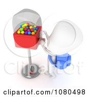 Clipart 3d Ivory School Boy At A Gumball Machine Royalty Free CGI Illustration