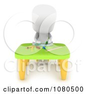 Clipart 3d Ivory School Kid Drawing At A Table Royalty Free CGI Illustration
