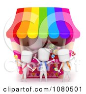 Clipart 3d Ivory School Kids Buying Candy At A Vendor Store Royalty Free CGI Illustration