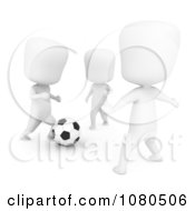 Clipart 3d Ivory Kids Playing During A Soccer Game Royalty Free CGI Illustration
