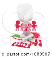 Clipart 3d Ivory School Girl Holding Pink Paper People Royalty Free CGI Illustration