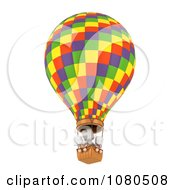 Clipart 3d Ivory Family In A Hot Air Balloon Royalty Free CGI Illustration