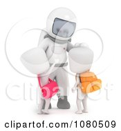 Clipart 3d Ivory School Kids Checking Out An Astronaut At A Museum Royalty Free CGI Illustration