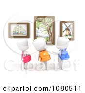 Clipart 3d Ivory School Kids Checking Out An Art Display At A Museum Royalty Free CGI Illustration