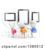 Clipart 3d Ivory School Kids Checking Out A Frame Display At A Museum Royalty Free CGI Illustration