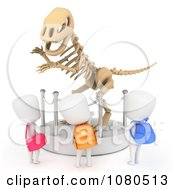 Clipart 3d Ivory School Kids Checking Out A Dinosaur Bones Display At A Museum Royalty Free CGI Illustration