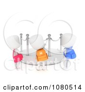 Clipart 3d Ivory School Kids Checking Out A Blank Display At A Museum Royalty Free CGI Illustration