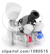 Clipart 3d Ivory School Kids Checking Out A Canon Display At A Museum Royalty Free CGI Illustration