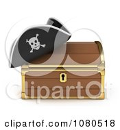 Clipart 3d Treasure Chest And Pirate Hat Royalty Free CGI Illustration