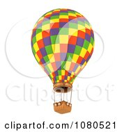 Clipart 3d Colorful Checkered Hot Air Balloon Royalty Free CGI Illustration