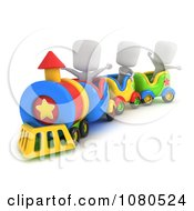 Clipart 3d Ivory Kids Riding A Train Royalty Free CGI Illustration