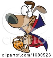 Clipart Halloween Vampire Dog Trick Or Treating Royalty Free Vector Illustration by toonaday